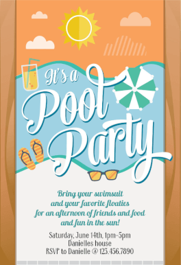 free pool party invitations templates