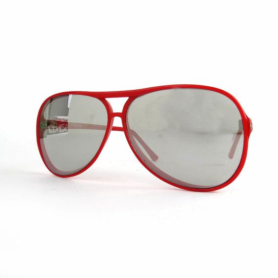Vintage Italian Mirrored Aviator Sunglasses Red by DrVintage, $21.99