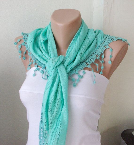 Green, Raw Green Cotton Scarf With Pine Flower Lace