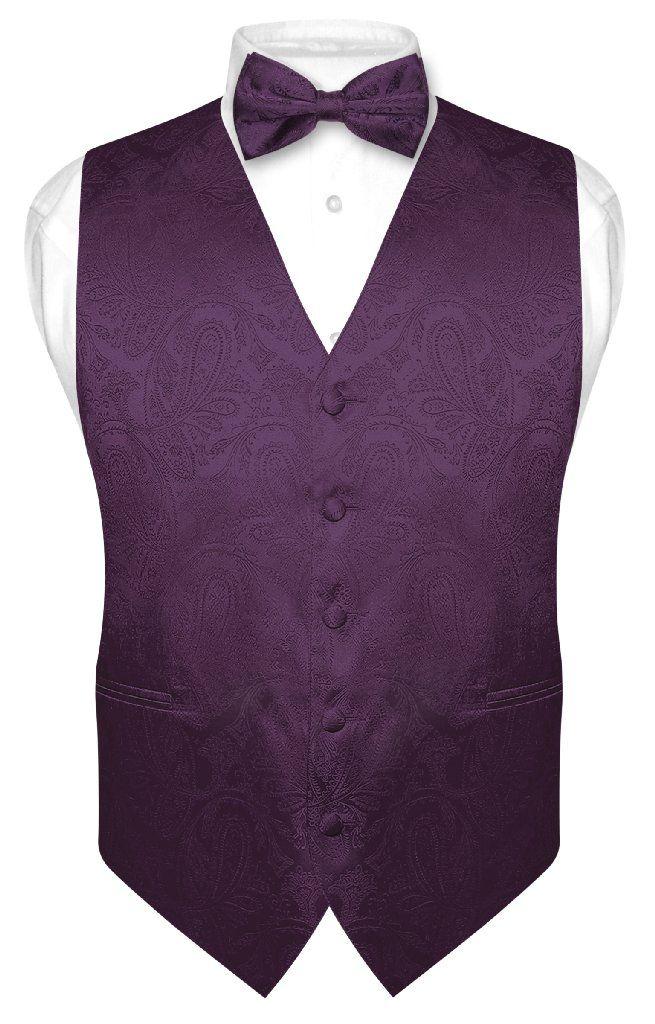 dc97f63778ae Men's Paisley Design Dress Vest & Bow Tie DARK PURPLE Color BOWTie Set