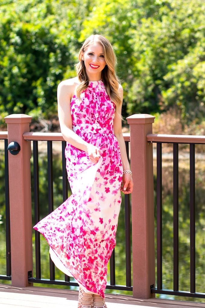 c0cb0d84c7a2 Vistana Orlando Glamour-Zine wearing Eliza J Print Pleated Chiffon Maxi  Dress
