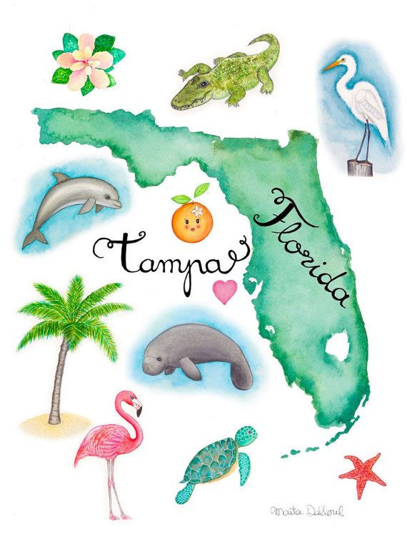 Florida Art Print Florida Map Print Tropical Watercolor Painting
