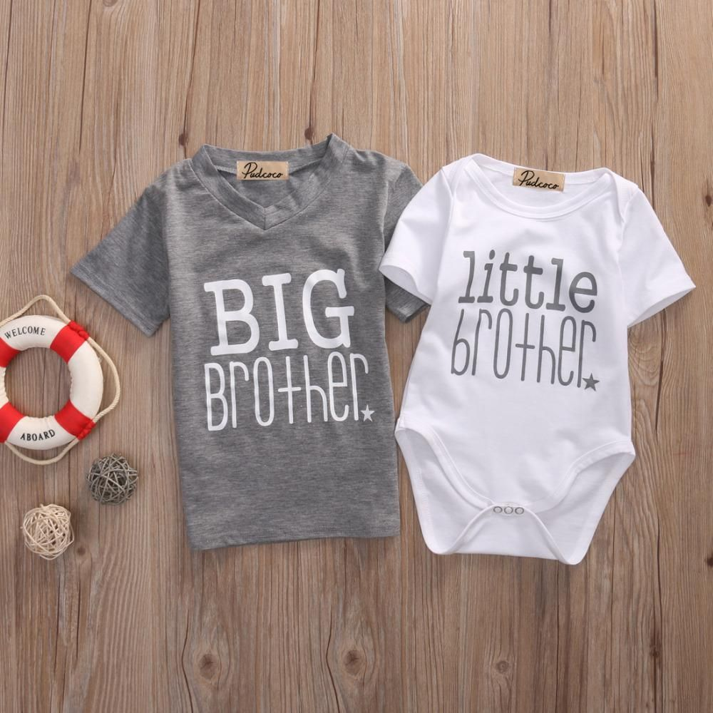 Infant Toddler Family Matching Outfit Big Brother Tee and Little Brother  Onesie. Let your little boy welcome his newborn brother in style. 9d3c4c8ca