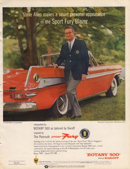 0 Steve Allen & Plymouth Sport Fury Convertible for Botany 500 Blazers ad 1957
