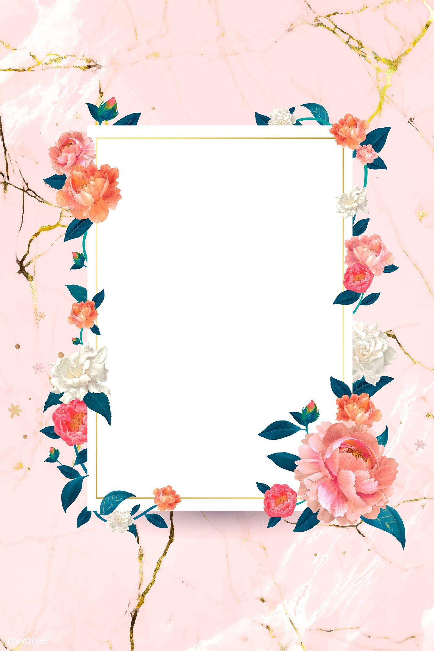 Download Premium Vector Of Blank White Floral Card Template Vector 680072 Flower Frame Floral Border Design Floral Background