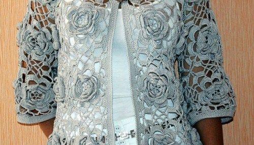 Crochet gilet de roses