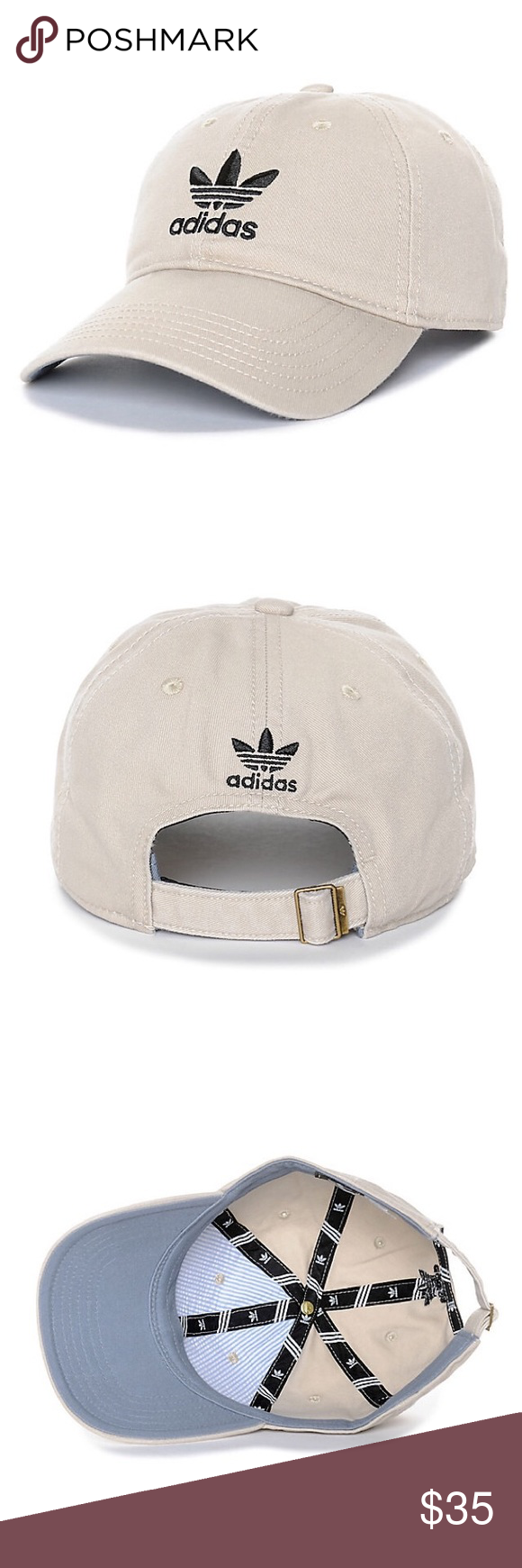 ffb45a75c7b55 Adidas Originals Relaxed Dad Baseball Hat ✨Color  Khaki   Black ❤️The khaki  adidas