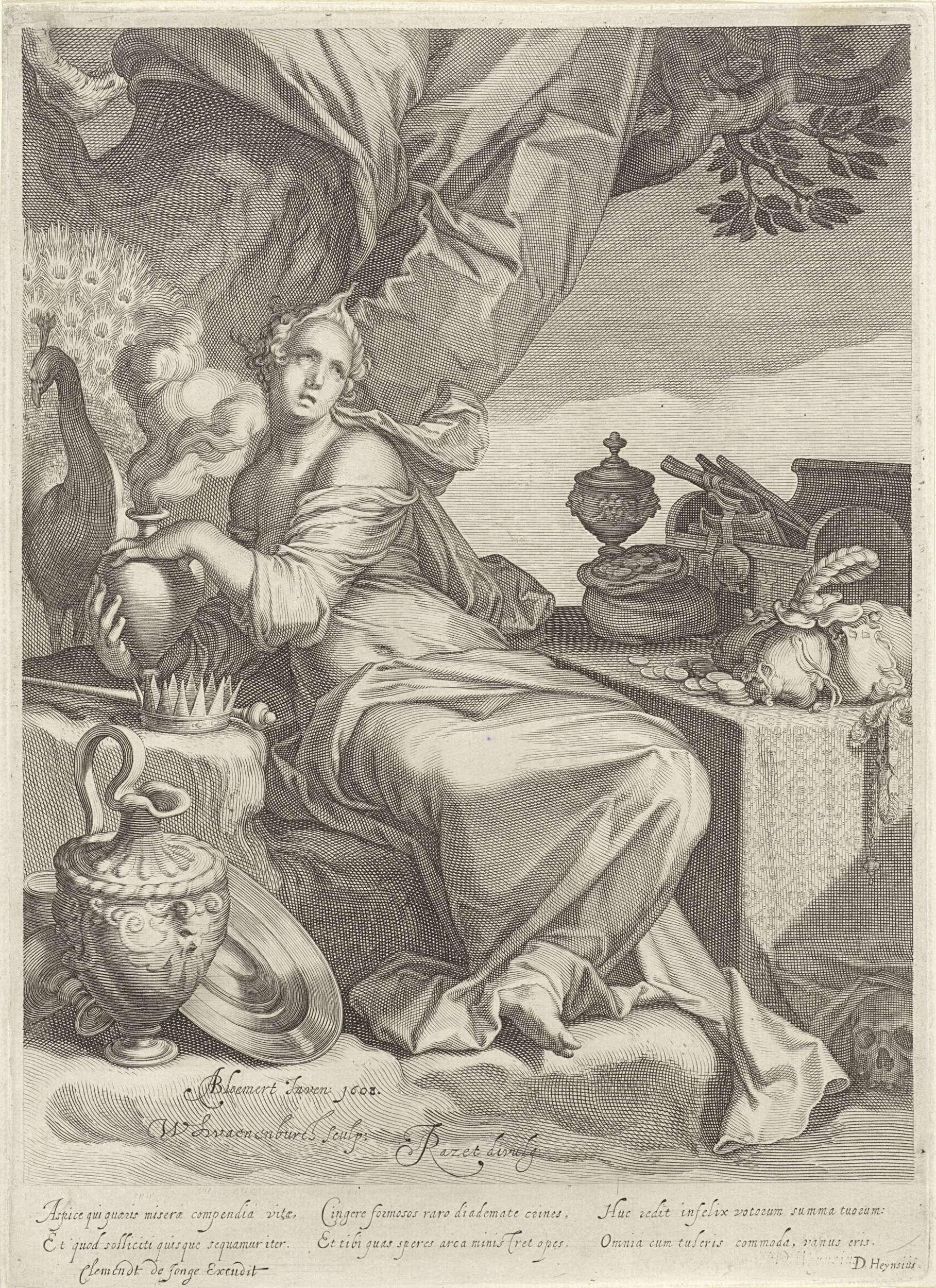 Willem Isaacsz. van Swanenburg   Personificatie van vanitas, Willem Isaacsz. van Swanenburg, Daniël Heinsius, Clement de Jonghe, 1608   Een vrouw zit aan een tafel met kostbaarheden, waaronder een zak met geld en een schatkist. Onder de tafel ligt een doodshoofd. Ze houdt een kruik vast waar rook uit komt. Bij de kruik zit een pauw en ervoor ligt een scepter naast een kroon. Op de grond ligt vaatwerk. Onder de voorstelling bevindt zich een zesregelige, Latijnse tekst waarin de voorstelling…