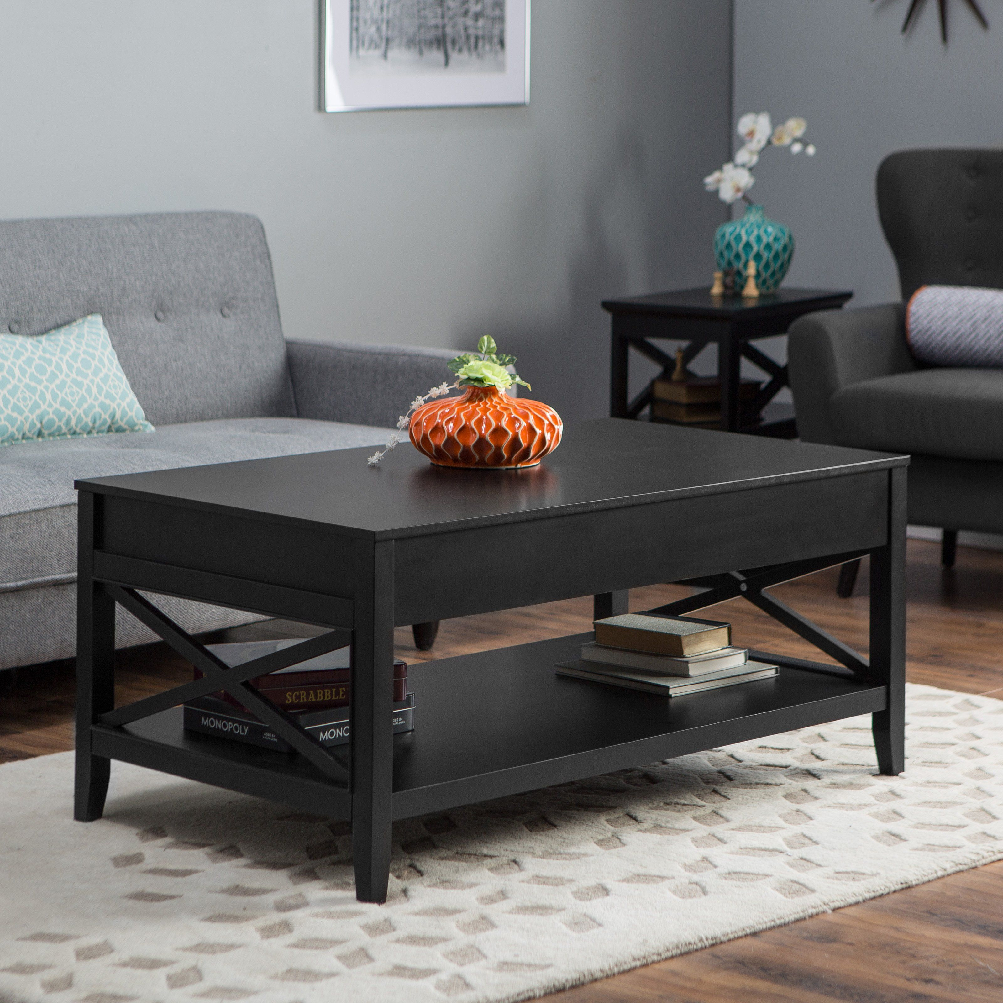 Belham Living Hampton Lift Top Coffee Table Black