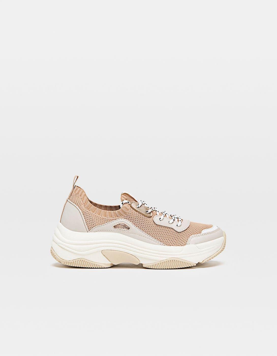 Sapatilhas Com Plataforma Combinada Com Knit Tenis Stradivarius Portugal Sapatilhas Sapatos Plataforma