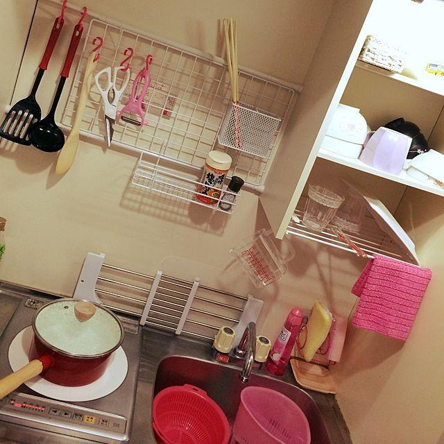 キッチン 狭いキッチン 一人暮らし ダイソー 100均 などのインテリア
