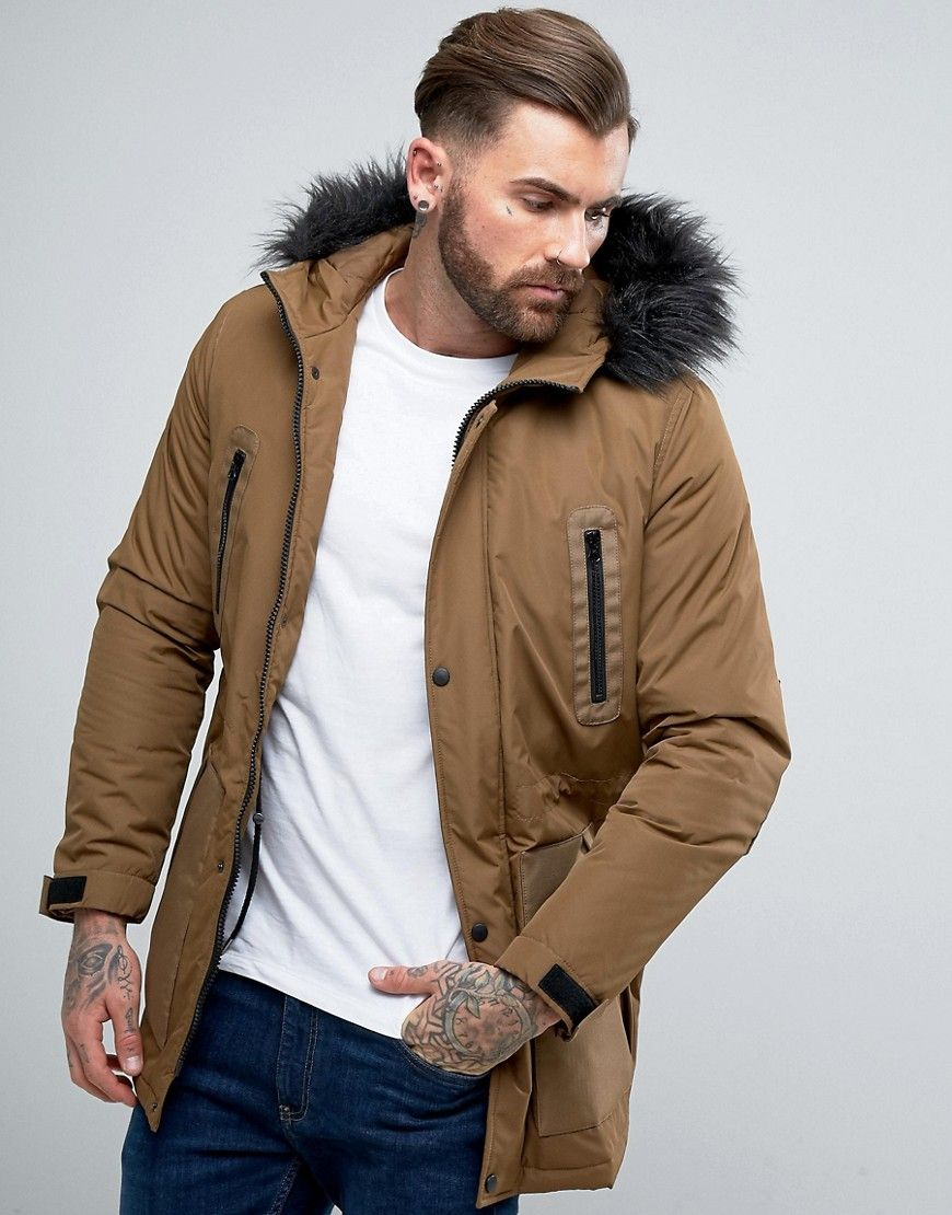 e46e22a76 ASOS Parka Jacket with Faux Fur Trim in Tobacco - Brown | things I ...