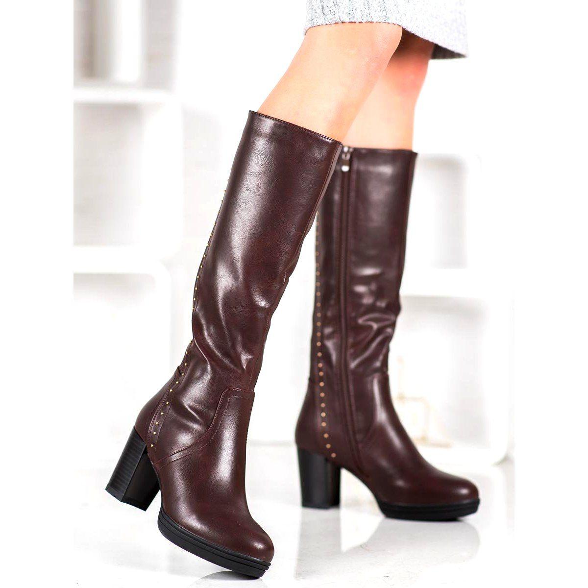 J Star Brazowe Kozaki Na Obcasie Heels Boots Stiletto Boot