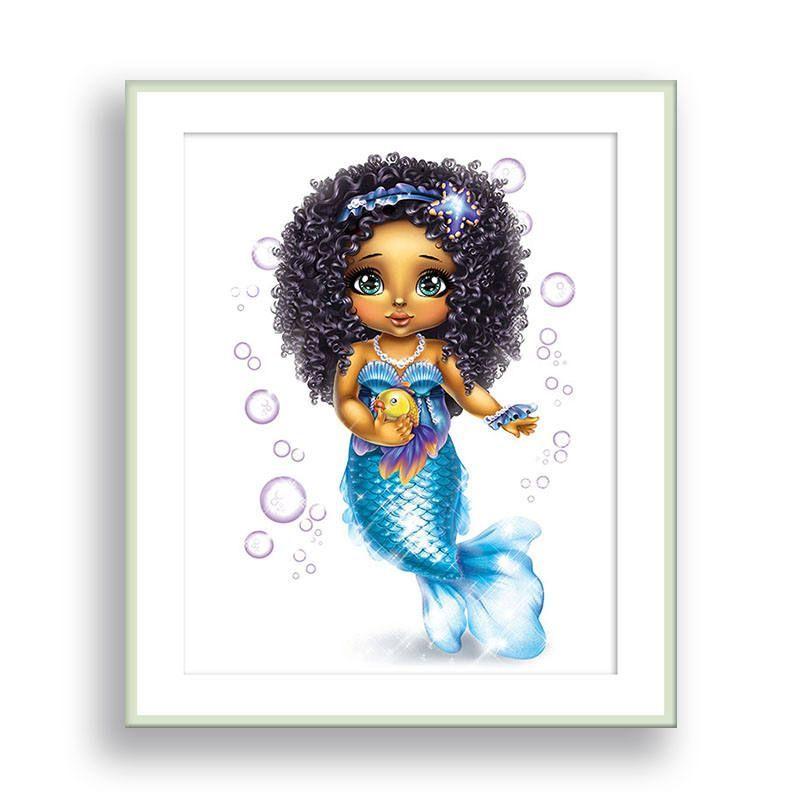 Mermaid Wall Art African American Girl Wall Art Mermaid Nursery