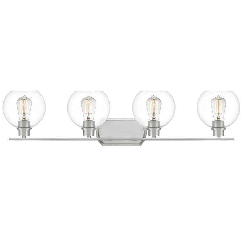 """Photo of Quoizel PRUC8636 Pruitt 4 Light 36 """"wide bathroom washbasin lamp with clear glass, brushed nickel interior lighting bathroom lamps washbasin lamp"""