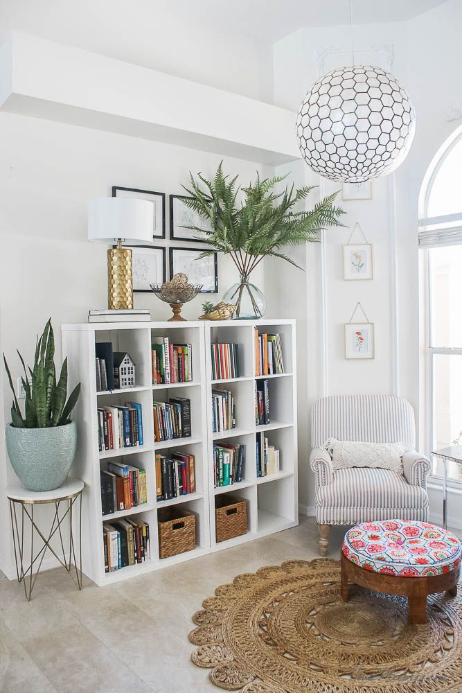 Reading nook with IKEA shelves