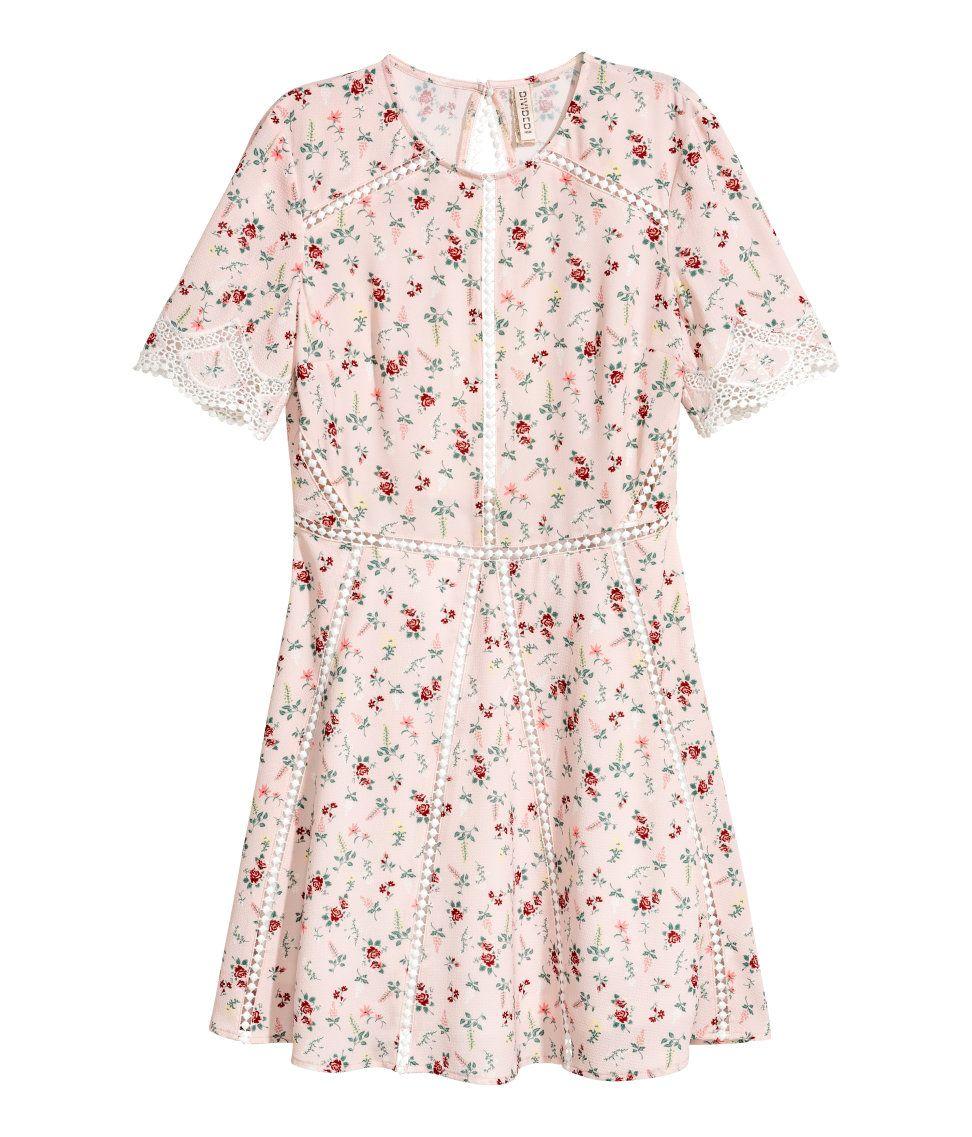 Kurzes Kleid | Hellrosa/Geblümt | Damen | H&M DE