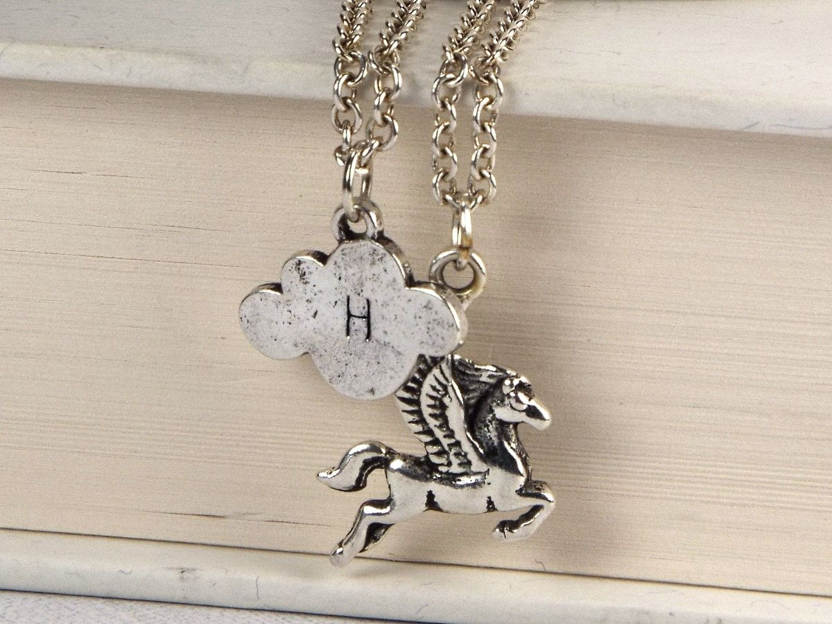 New to fripparie on Etsy: Pegasus Fantasy Layered Jewelry Necklace with Hand Stamped Initial on Cloud Charm - Silver Tone (29.00 USD)