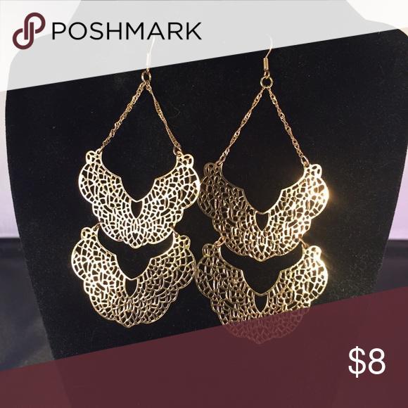 Delicate Gold lace earrings Lightweight gold earrings Jewelry Earrings