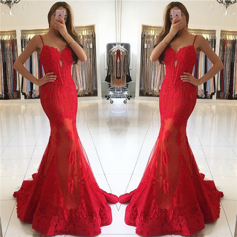 Abendkleider lang spitze rot