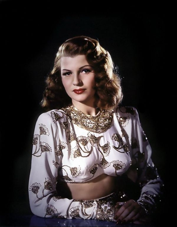 Rita Hayworth in two-piece gown (Jean Louis) from Gilda.
