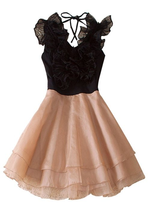 Black Round Neck Sleeveless Ruffles Polyester Tiered Dress pinned with #Bazaart - www.bazaart.me