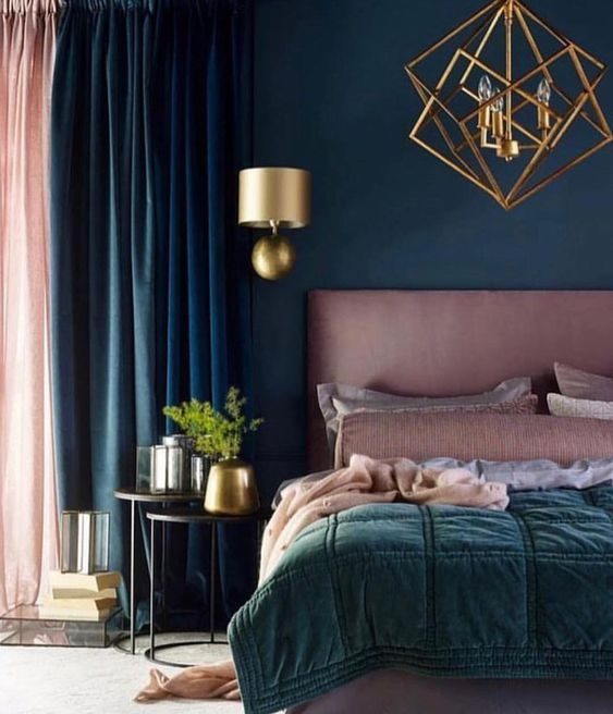 I Am Loving This Navy Blue Pink Color Scheme The Gold Geometric Light Fixtures Complement The Room Ver Luxurious Bedrooms Elegant Bedroom Home Decor Bedroom