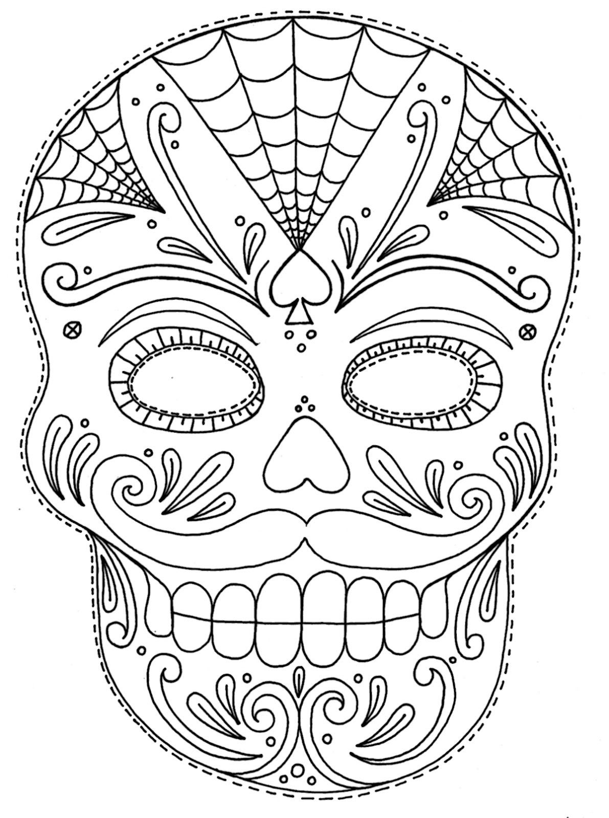 Coloring pictures skulls - Moustached Sugar Skull Mask Day Of The Dead Coloring Page