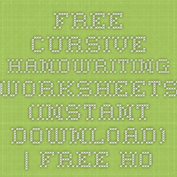FREE CURSIVE HANDWRITING WORKSHEETS (instant download)