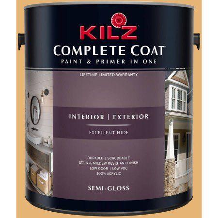 Kilz Complete Coat Interior/Exterior Paint & Primer in One, #LD150-02 Pommery Mustard, Yellow
