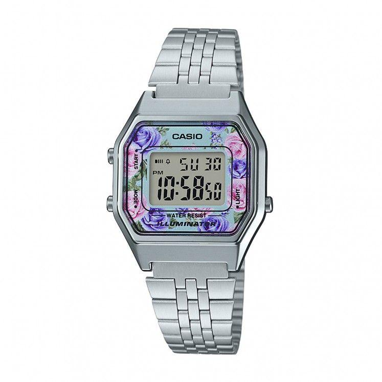 91c394603b2b Casio Retro Flower Digital Dial Steel Bracelet Ladies  Watch ...