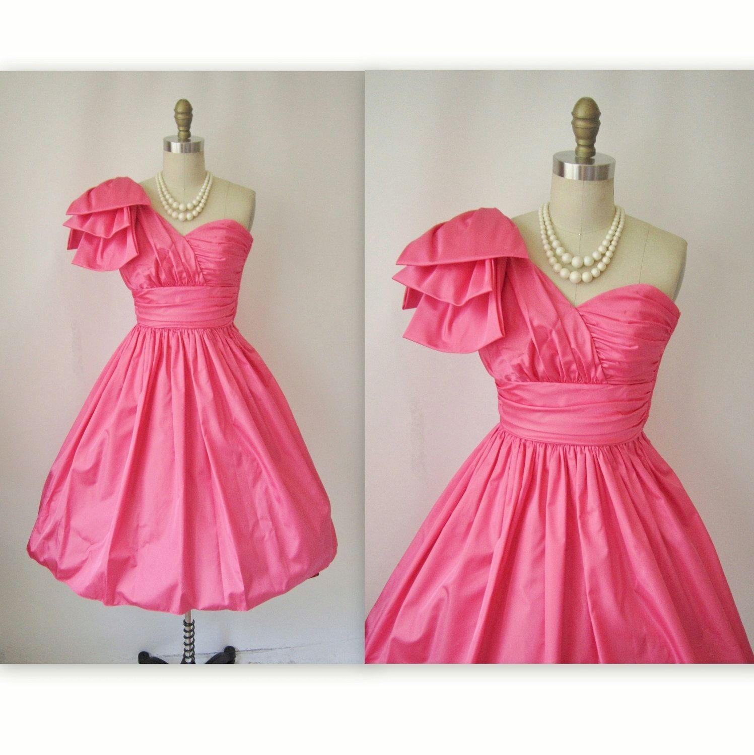Vintage Prom Dress // 1980's One Shoulder Hot Pink Taffeta Cocktail Party Prom Dress XXS XS #dressesfromthesouthernbelleera