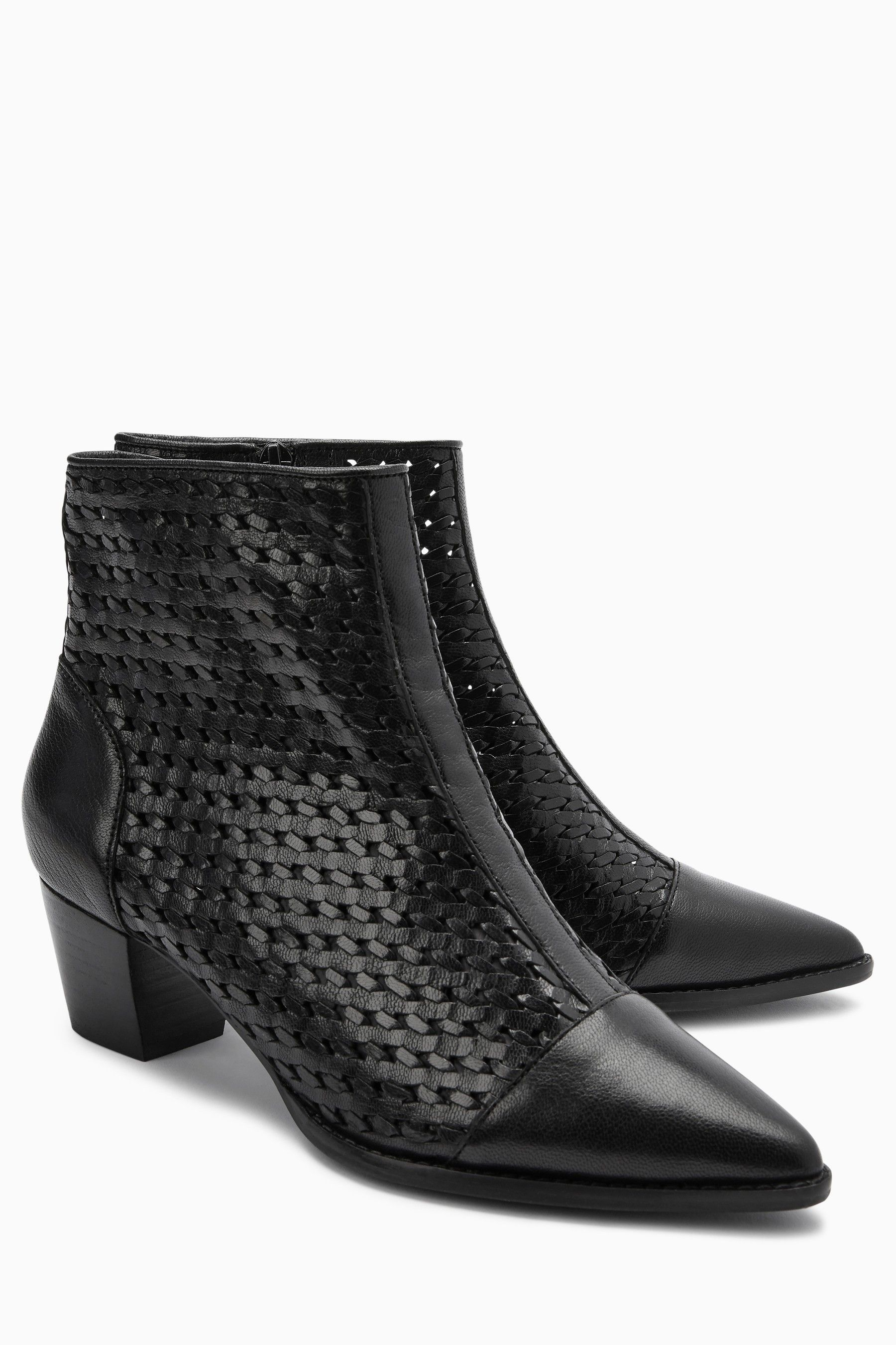 Womens Next Black Weave Ankle Boots Black | Products