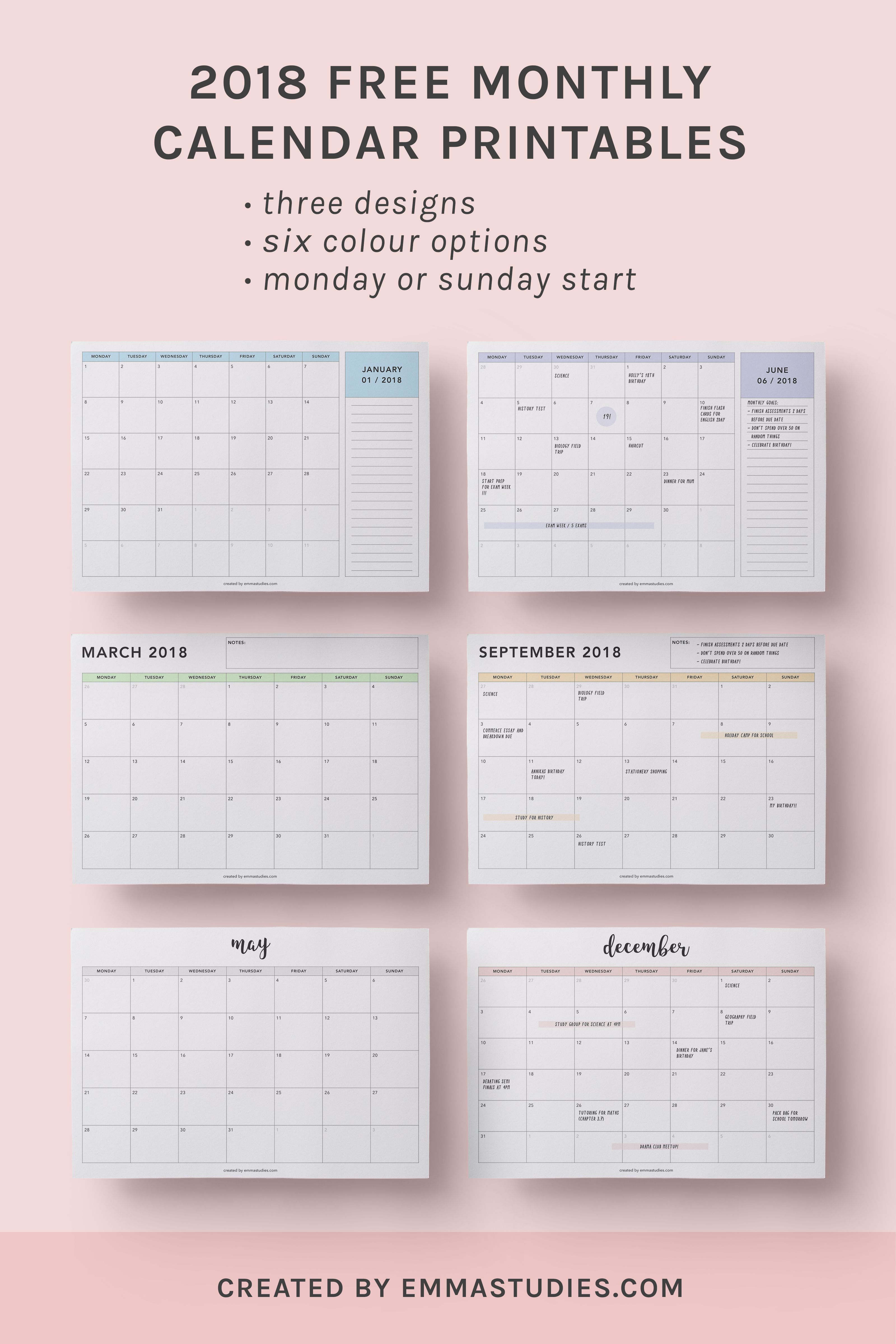 2018 monthly free printable calendars by emmastudies. Black Bedroom Furniture Sets. Home Design Ideas