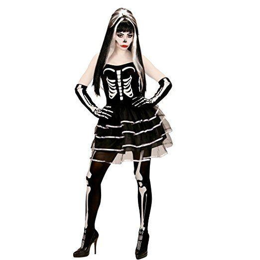 61c09294d57fa1 Skelettkostüm Halloween Skelett Kostüm Damen S 34 36 Gerippe  Halloweenkostüm Frauen Knochen Damenkostüm Sugar Skull