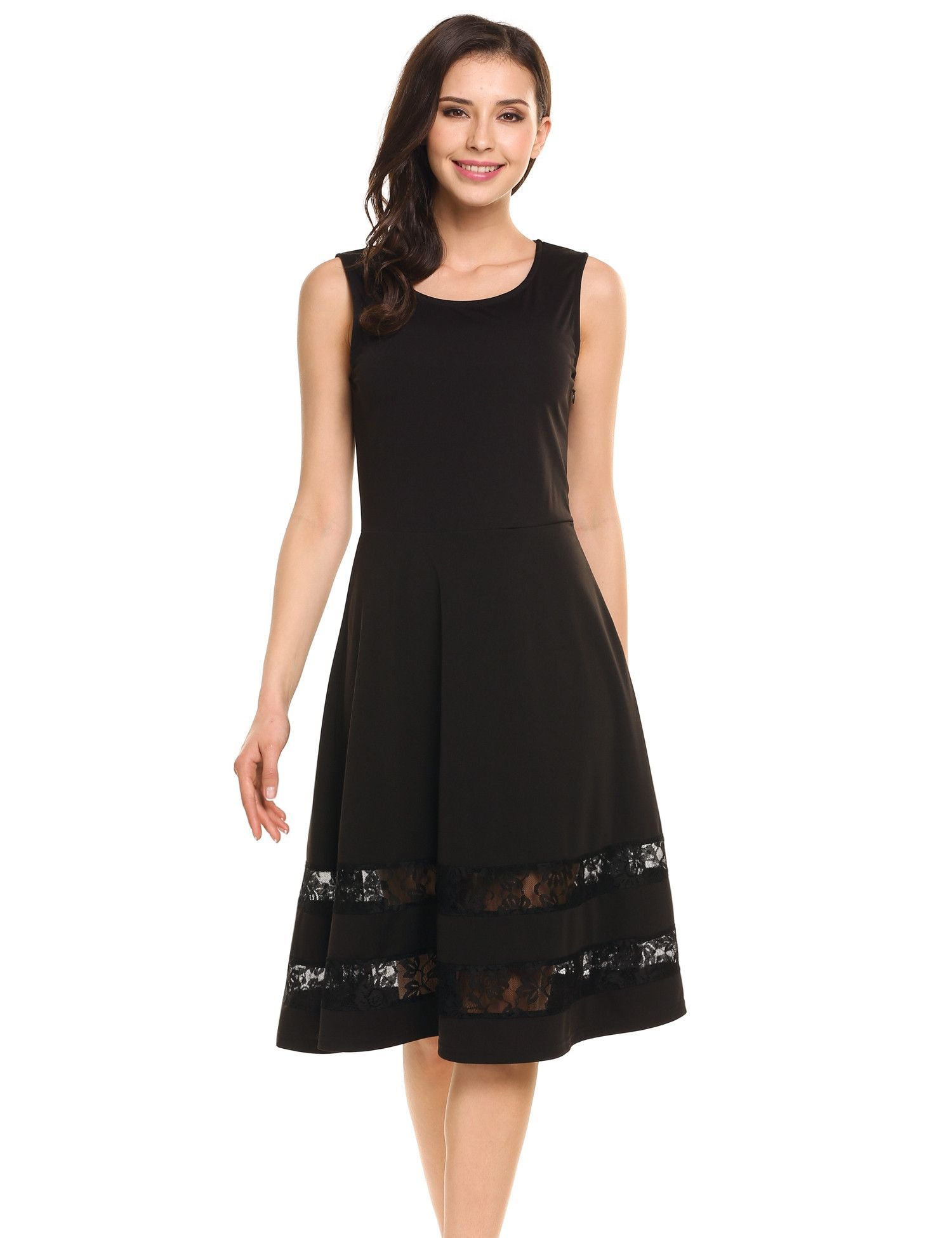 Black Sleeveless Lace Patchwork Fit and Flare A-Line Casual Dress