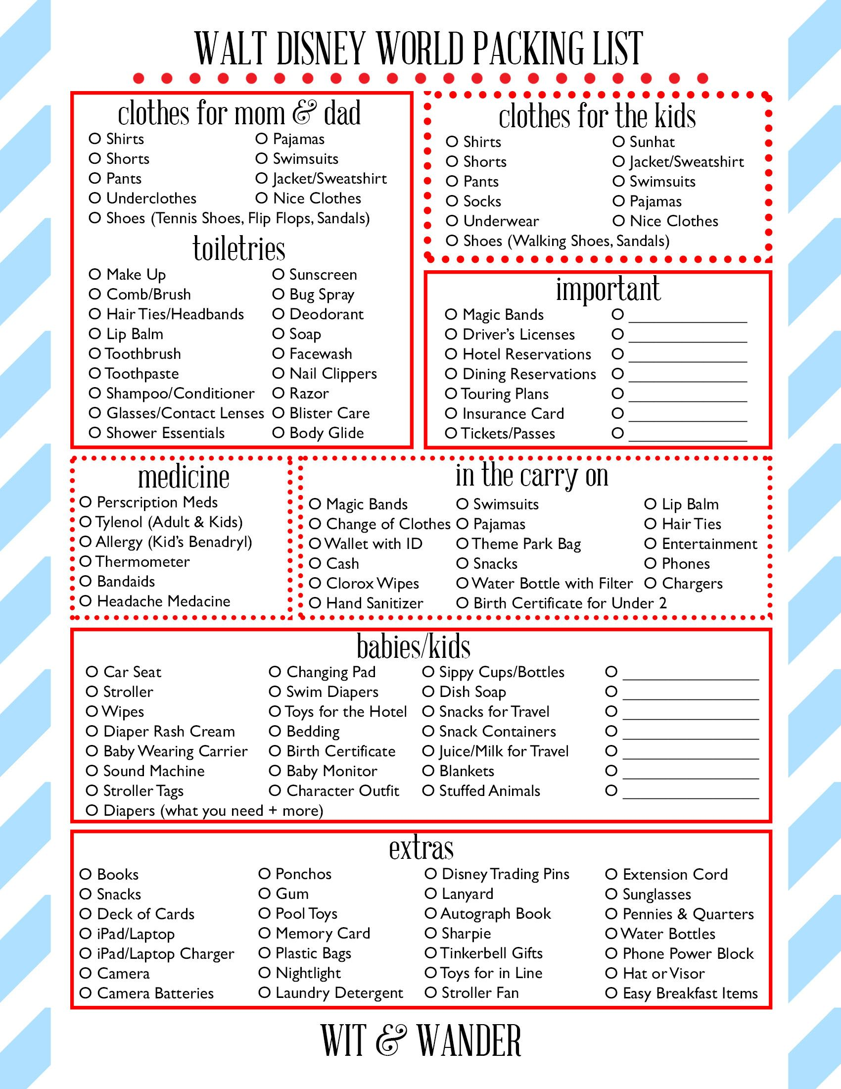 Walt Disney World Free Printables  Disney world packing