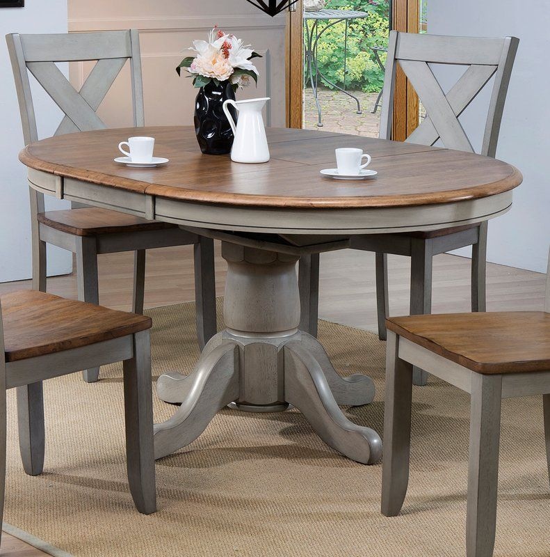 Wonderly Pedestal Extendable Solid Wood Dining Table Shabby Chic