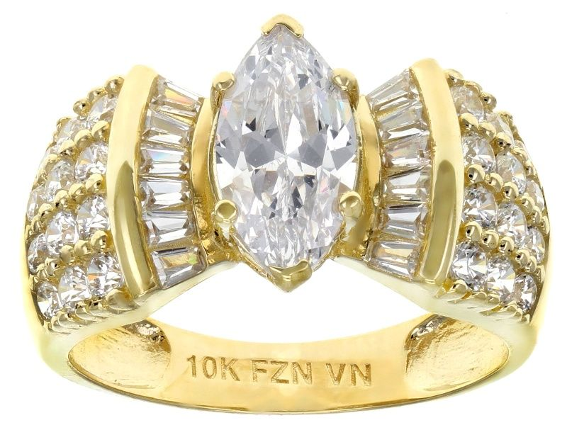 White Cubic Zirconia 10k Yellow Gold Center Design Ring 3 69ctw Blg409 Ring Designs Yellow Gold Rings Rings