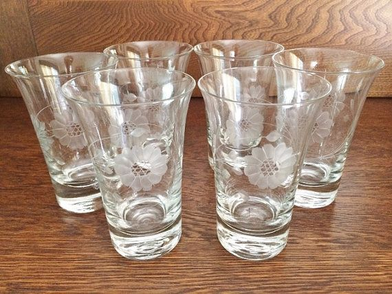 6 Cornflower Etched Water Tumbler Drinking Glasses Lovely Flared Top Water Tumbler Tumbler Really Cool Stuff