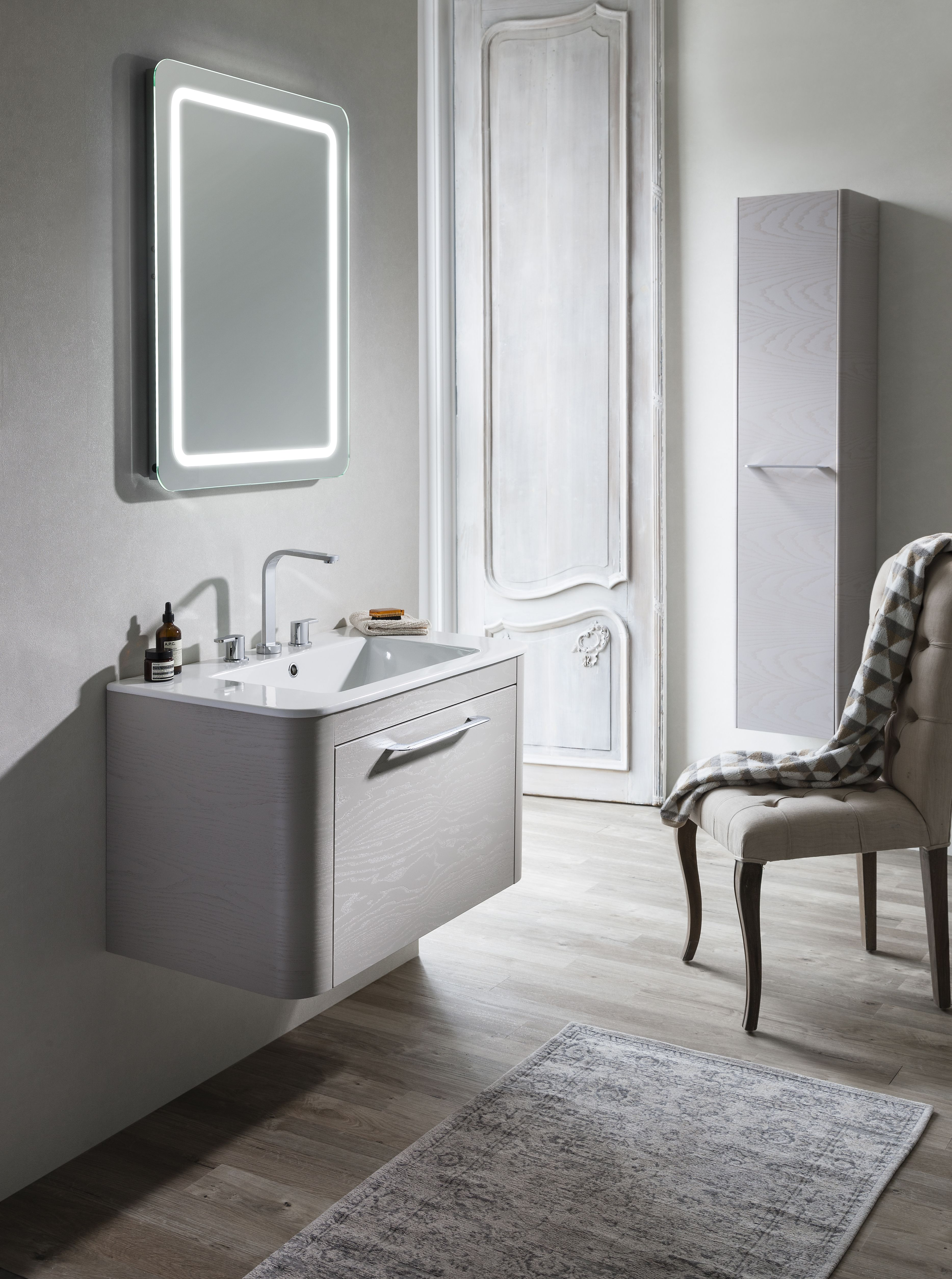Generous storage facilities make this range ideal for bathrooms with limited space - Celeste 80 Unit & Ceramic Basin in Pebble from Bauhaus. http://www.crosswater.co.uk/product/furniture-furniture-collections-browse-by-range-celeste/celeste-80-unit-and-ceramic-basin-celeste80-unit-ceramic/