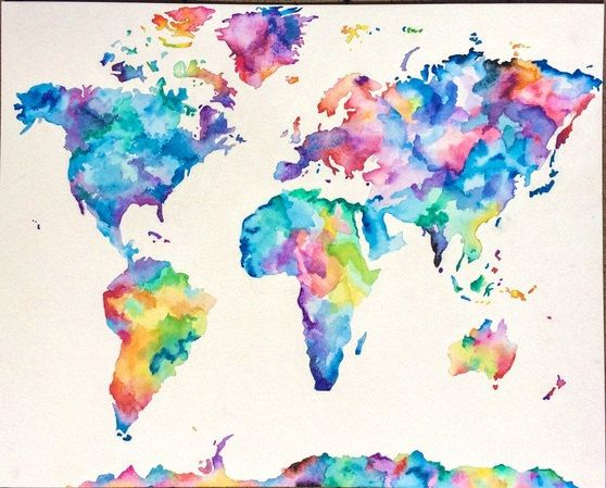 Colorful Hand Painted Watercolor World Map Painting By Missmeraki