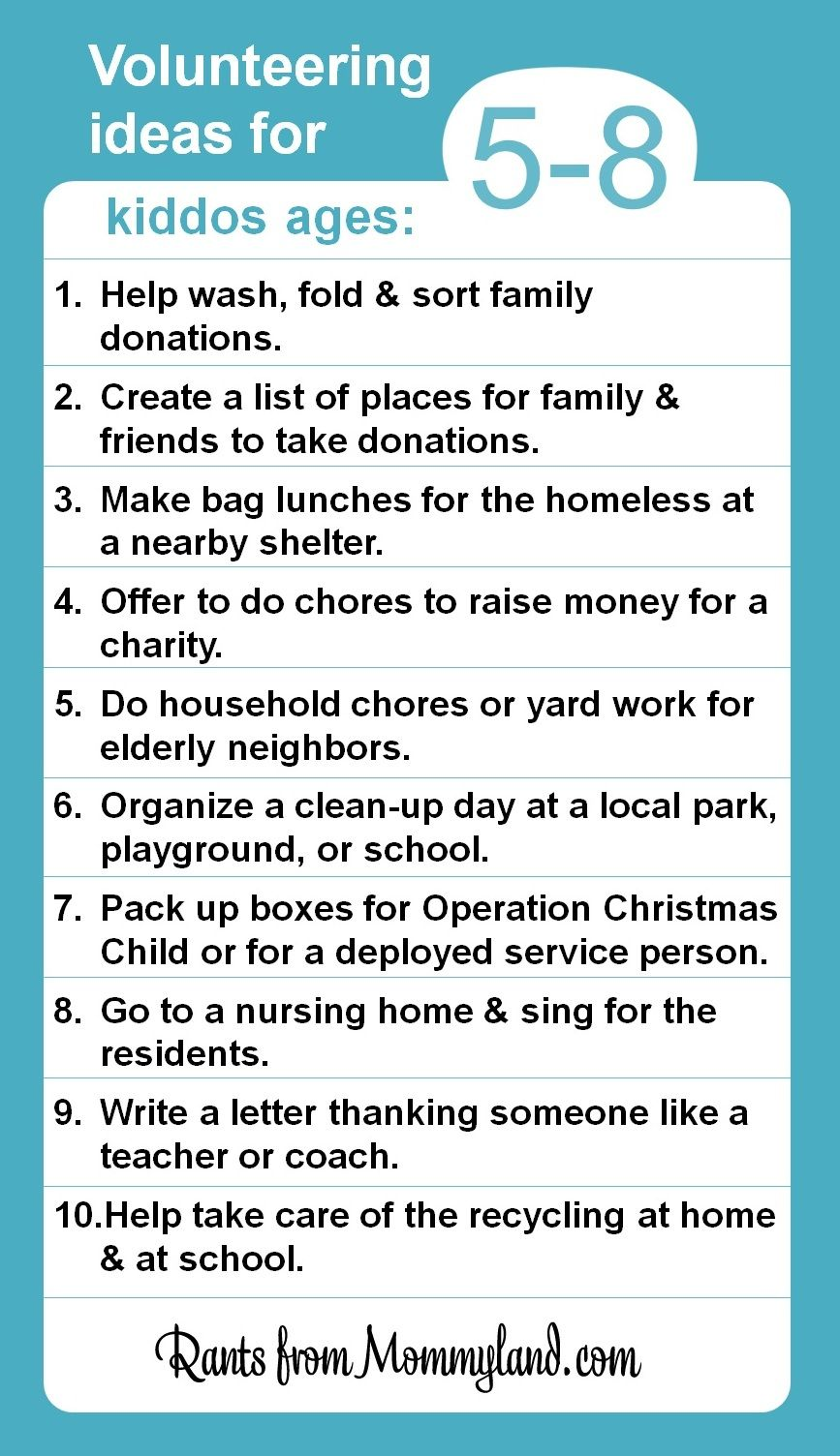 Volunteer and service ideas for kiddos ages 5-8. Kids can do a lot ...