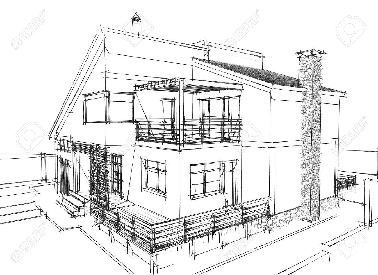 Line Hatching Pencil Conceptual Sketch Creating Depth