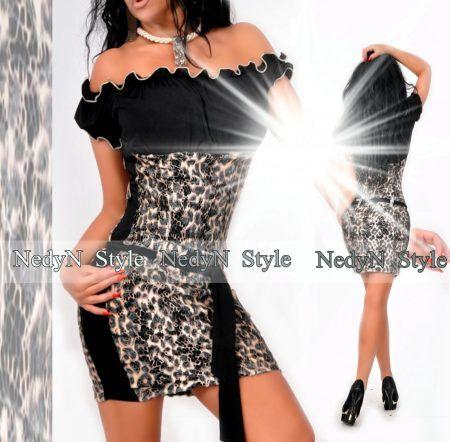 NedyN vállra húzható párduc csipkés női ruha  ed44c1334c