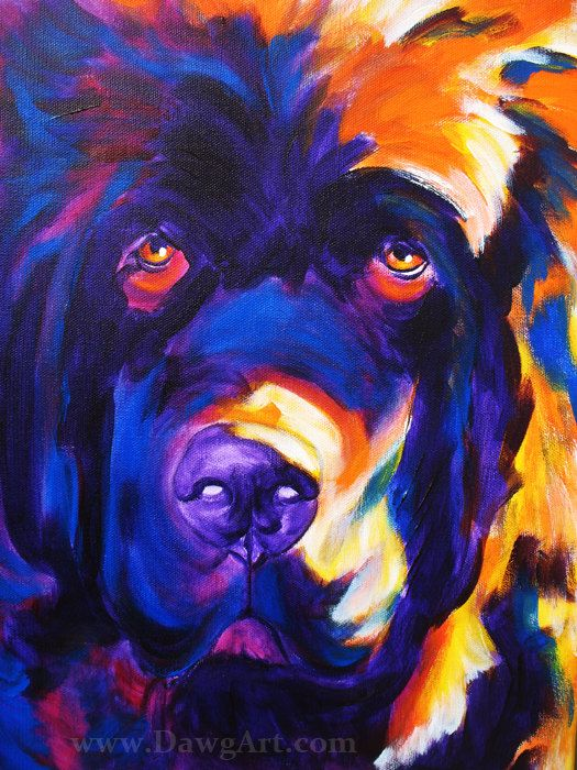 Print of Colorful Newfoundland Painting by Alicia VanNoy Call. Original was acrylic on canvas.    This bright, happy artwork will make a wonderful
