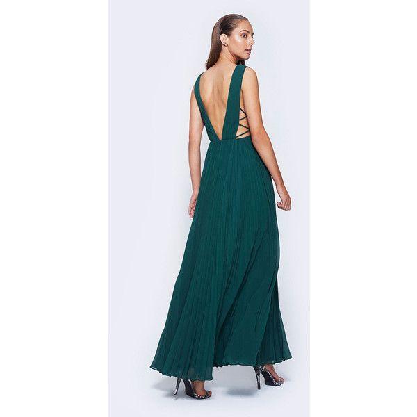 Green V-Neck Cocktail Dress