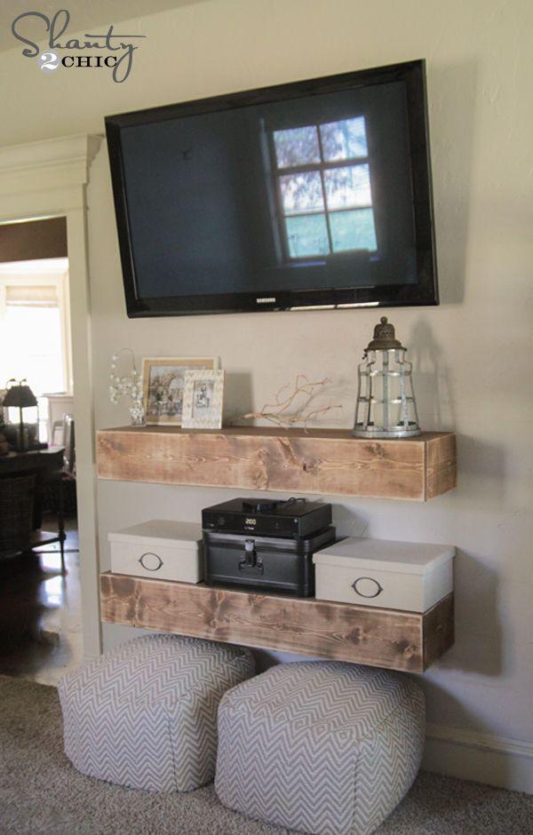 Diy Media Shelves Free Plans Video Tutorial Shanty 2 Chic Diy Living Room Decor Living Room Diy Small Living Room Layout