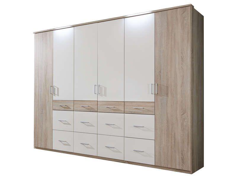 Armoire 6 portes 12 tiroirs SMART coloris chêne/ blanc - pas ...