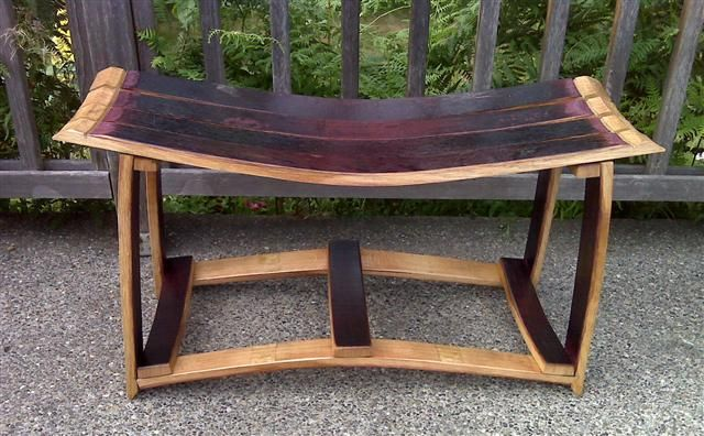 Custom bench from used wine barrel staves